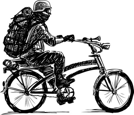 Sketch of man in helmet and mask with backpack traveling a bicycle. Çizim