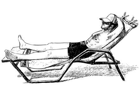 Sketch of man sunbathing on lounger on seashore