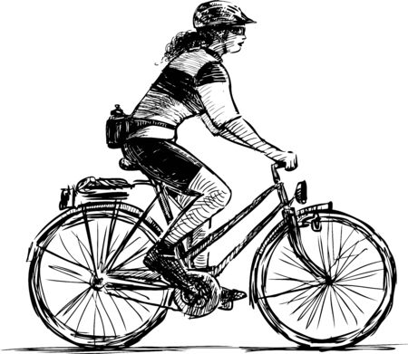 Sketch of sports girl in helmet riding a bicycle Çizim