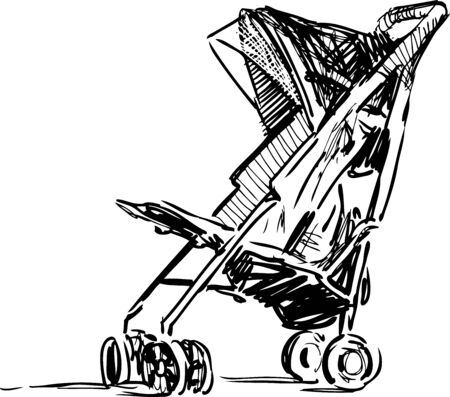 Sketch of stroller for walking with baby
