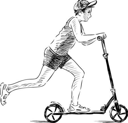 Sketch of teen boy riding a scooter on summer day Çizim