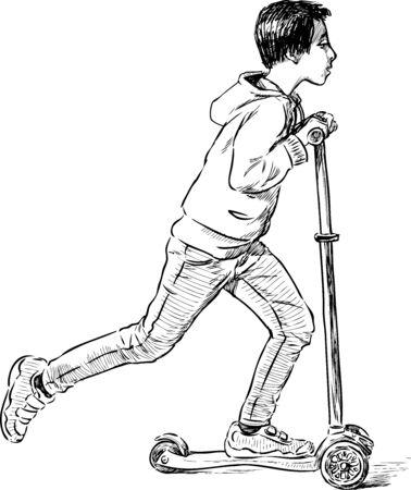 Sketch of teen boy riding a scooter Çizim