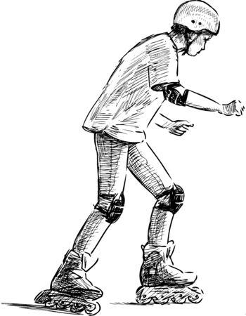 Croquis d'un adolescent à cheval sur des patins à roulettes