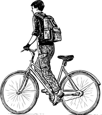 Sketch of teen student with backpack riding a bicycle