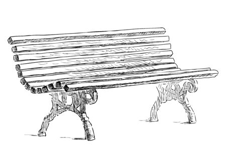 Sketch of wooden bench in city park
