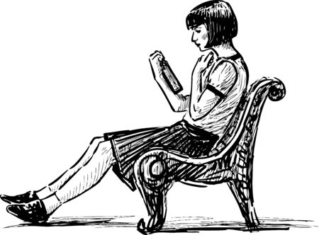 Sketch of young girl sitting on park bench and reading book