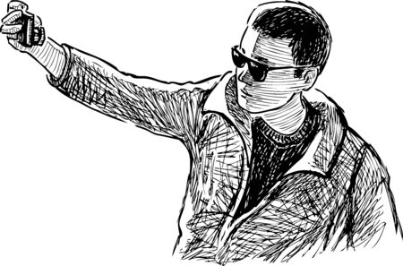Sketch of young man in sunglasses photographing selfie on his smartphone