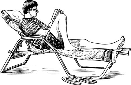 Sketch of young man reading book on sunbed on beach