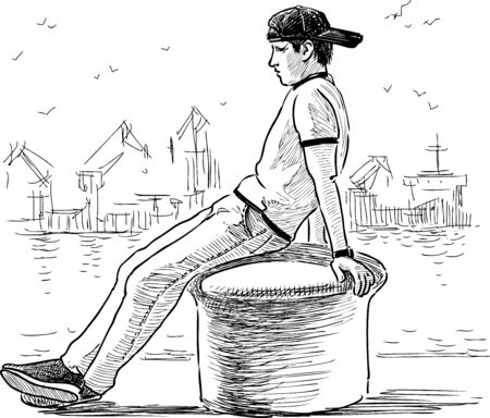 Sketch of young man sitting on bollard on seafront in port and dreaming