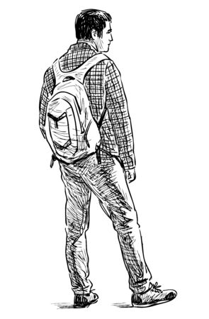 Sketch of young man with backpack standing on street in wait Çizim