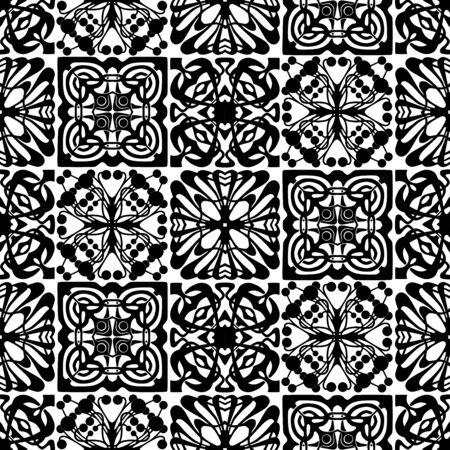Seamless pattern of various ornamental design elements silhouettes Çizim