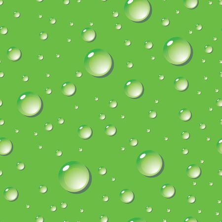 Seamless pattern of water drops on green surface