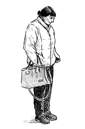 Sketch of casual townswoman standing in wait on bus stop Çizim