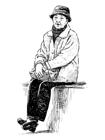 Sketch of elderly townswoman in hat resting in city park