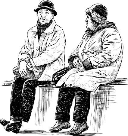 Sketch of elderly townswomen  sitting and talking on park bench 免版税图像 - 136972164
