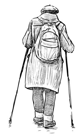 Sketch of old townswoman with backpack in norwegian walking with sticks
