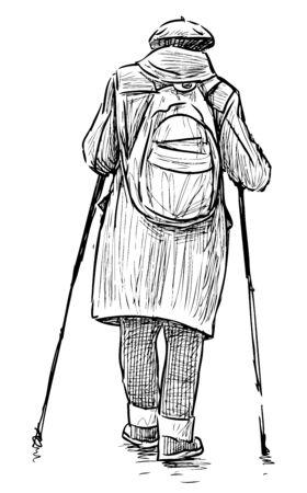 Skizze der alten Stadtfrau mit Rucksack im norwegischen Wandern mit Stöcken Vektorgrafik