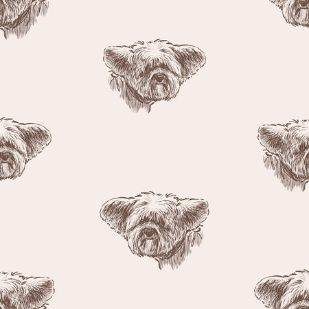 Seamless pattern of head of funny eared lap dog
