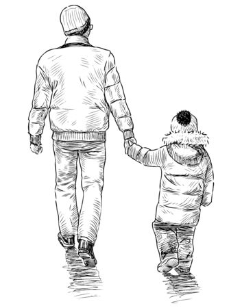 Sketch of a man with his little child going for a walk