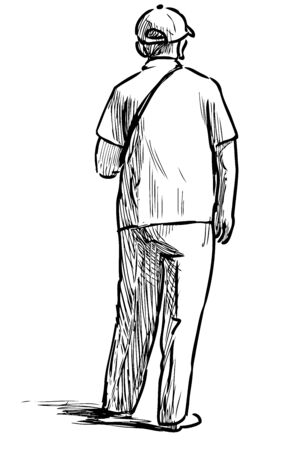 Sketch of elderly man standing on street on summer day