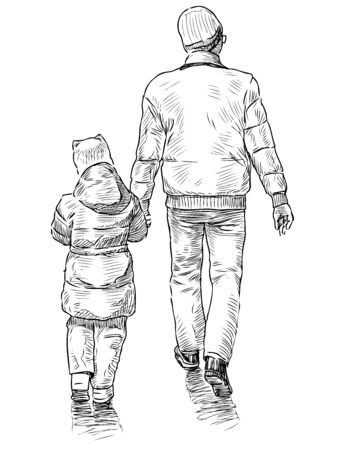 Sketch of father with his little daughter going for a walk