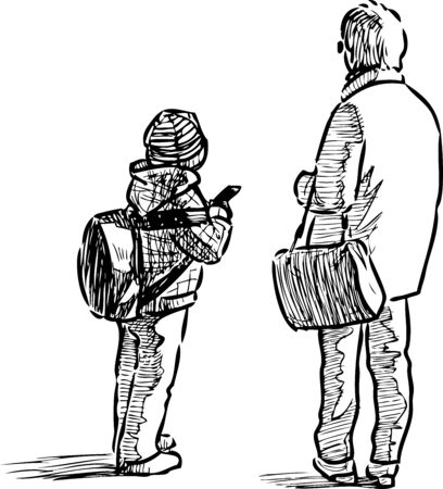 Sketch of little schoolboy and his grandmother standing on urban street