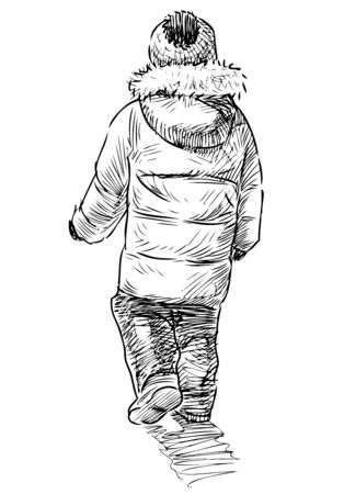 Sketch of small kid in jacket with hood going on a walk