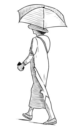 Sketch of woman with umbrella going along street on summer sunny day