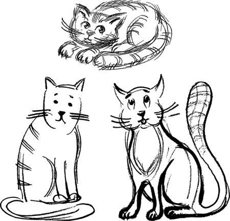 Sketches of funny cartoon domestic cats