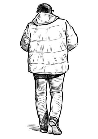 Sketch of casual townsman in jacket walking down street