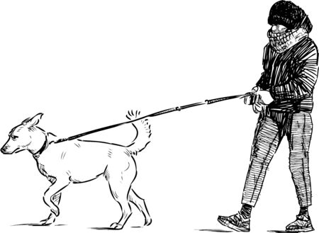 Sketch of city girl with her dog going for a walk