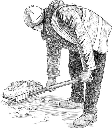 Sketch of janitor with a shovel to clear snow