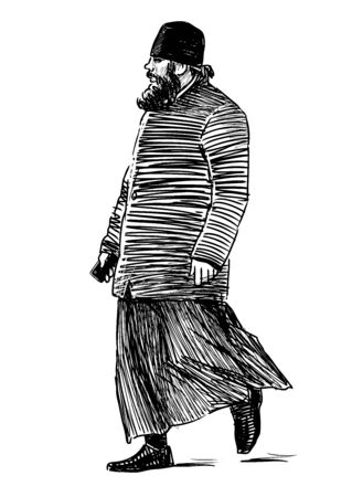 Sketch of orthodox priest walking on city street