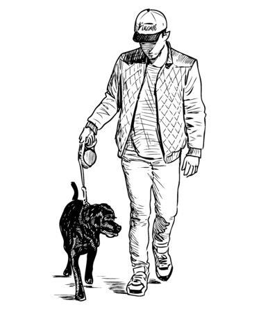 Sketch of teen boy with his dog walking on a stroll