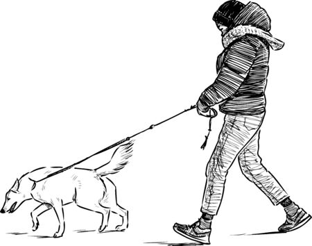 Sketch of teenager with his dog going for a walk