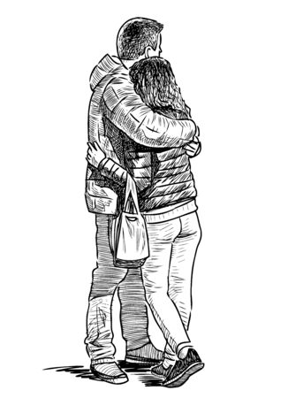 Sketch of young couple in love hugging on city street