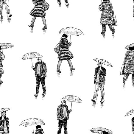 Seamless background of sketches citizens walking under umbrellas in rain 向量圖像