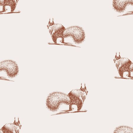 Seamless background of sketches squirrel running away