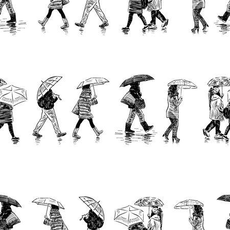 Seamless pattern of casual citizens walking under umbrellas in rain