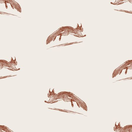 Seamless pattern of sketches squirrel running away