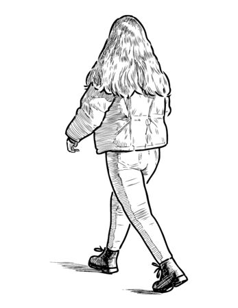 Sketch of teen girl with long hair walking along street Ilustrace