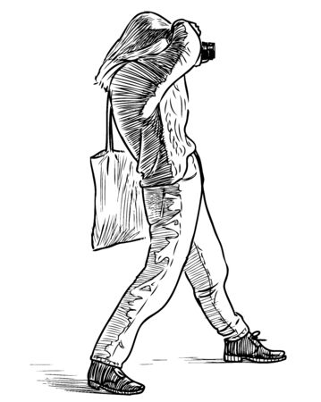 Sketch of young woman photographer takes picture on her camera 向量圖像