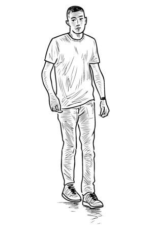 Sketch of casual young townsman walking outdoors