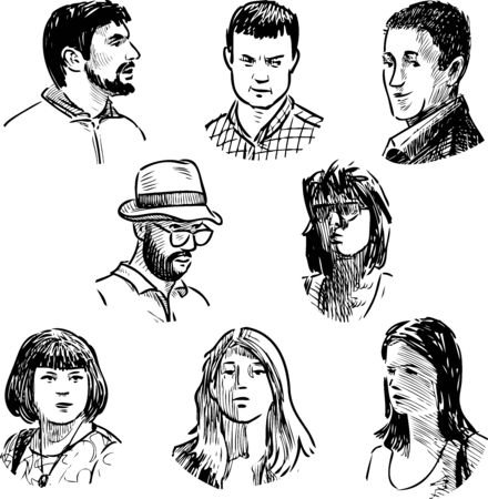 Sketches of faces different casual young people Vecteurs