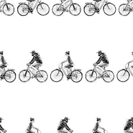 Seamless pattern of sketches men and women biking