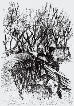 Vector sketch of couple citizens sitting on park bench on winter day Illustration