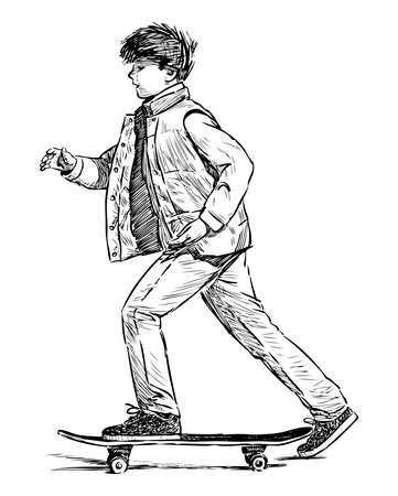Sketch of casual school boy riding skateboard