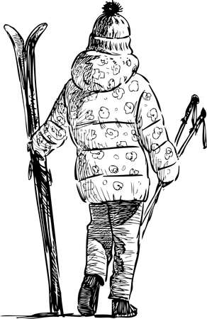 Sketch of child with skis going for a walk on winter day Ilustração