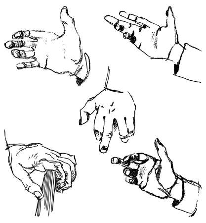 Sketches of the human palm in different poses Ilustração