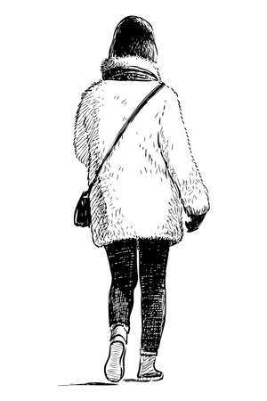 Sketch of casual city woman in white fur coat going for a walk
